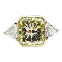 Vintage 6.06ct Yellow Radiant Diamond 3 Stone Engagement Platinum/18k Ring EGL USA