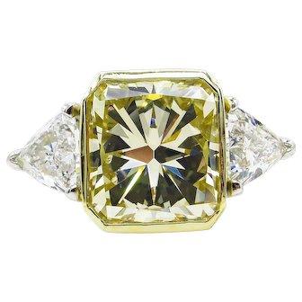Vintage 6.06ct Yellow Radiant Diamond 3 Stone Engagement Platinum/18k Ring EGL USA