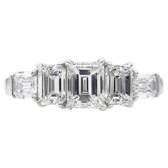 Vintage GIA 2.00ct Emerald Diamond 5 Stone Engagement Wedding Anniversary Platinum Ring