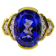 Vintage GIA 8.20ct Tanzanite Diamond Engagement 18k Yellow Gold Ring