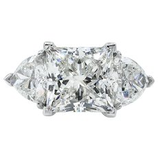 Vintage GIA 7.35ct Princess Diamond 3 Stone Engagement Platinum Ring