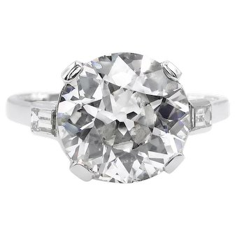Vintage GIA 4.50ct Old European Diamond Engagement Platinum Ring
