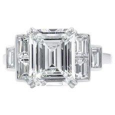 Vintage GIA 3.09ct Emerald Diamond Engagement Platinum Ring