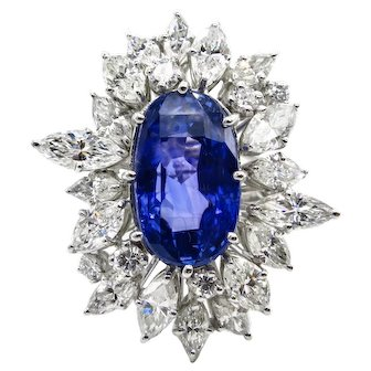 Vintage GIA 15.49ct No Heat Blue Sapphire Diamond Engagement Anniversary Platinum Ring