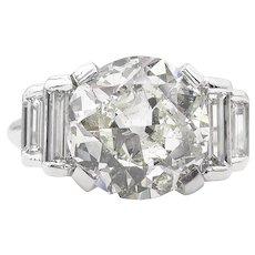 Vintage GIA 5.07ct Old European Diamond Engagement 18k White Gold Ring