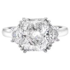 Vintage GIA 3.61ct Radiant Diamond Three Stone Engagement Platinum Ring