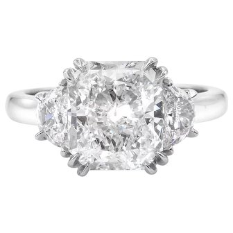 Vintage GIA 3.61ct Radiant Diamond Three Stone Engagement Platinum Ring