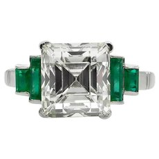 Vintage 4.29ct Asscher Diamond Engagement Platinum Ring EGL USA