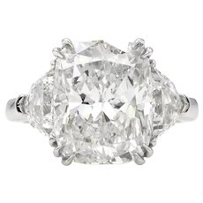 Vintage GIA 6.01ct Cushion Diamond Three-stone Engagement Platinum Ring