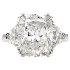 Vintage GIA 6.01ct Cushion Diamond Three-stone Engagement Platinum Ring