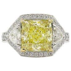 Vintage GIA 5.84ct Fancy Yellow Cushion Diamond Three Stone Engagement Platinum Ring