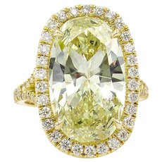 Vintage 7.09ct Oval Diamond Halo Engagement 18k Yellow Gold Ring
