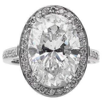 Vintage GIA 5.54ct Oval Diamond Halo Engagement Platinum Ring