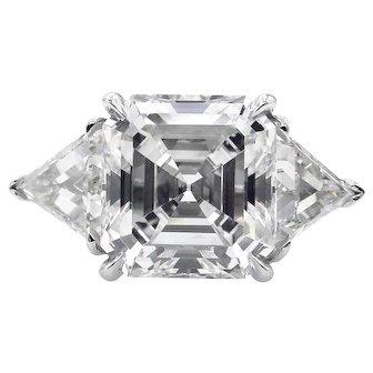 GIA 5.35ct Estate Vintage Asscher Diamond 3 Stone Engagement Wedding Platinum Ring