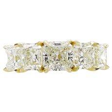 Vintage 4.07ct Radiant Diamond 5 Stone Engagement 18k Yellow Gold Band Ring