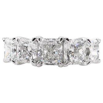 Vintage GIA 3.16ct Radiant Diamond Engagement Platinum Ring