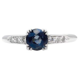 Vintage 0.80ct Art Deco Blue Sapphire Diamond Engagement Platinum Ring
