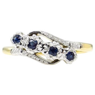 Antique 0.18ct Blue Sapphire Four Stone Engagement 18k Two Tone Gold Ring
