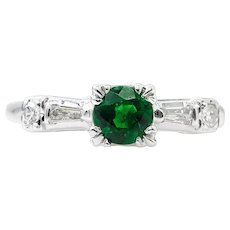 Art Deco 0.50ct Green Emerald Diamond Engagement 14k White Gold Ring