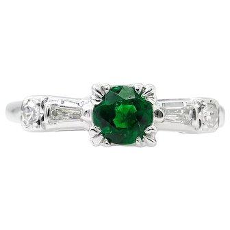 Art Deco 0.50ct Green Emerald Diamond Engagement 14k White Gold Ring