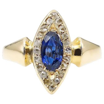 Victorian 0.73ct Sapphire and Diamond Engagement 18k Yellow Gold Ring