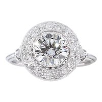 Vintage GIA 1.57ct Round Diamond Halo Engagement Platinum Ring