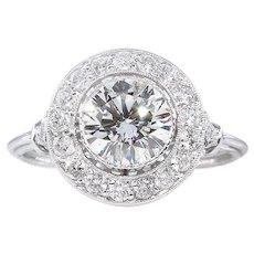 Vintage GIA 1.57ct Round Diamond Halo Engagement Platinum Ring