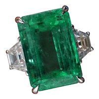 GIA 8.48ct Vintage Colombian Green Emerald Diamond 3 Stone Engagement Wedding Platinum Ring
