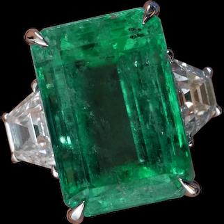 GIA 8.48ct Vintage Colombian Green Emerald Diamond 3 Stone Engagement Wedding Platinum Ring