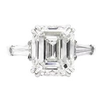 GIA 5.62ct Vintage Emerald cut Diamond Engagement Wedding Platinum Ring