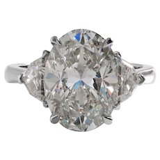 Vintage GIA 6.01ct Oval Diamond 3 Stone Engagement Wedding Platinum Ring
