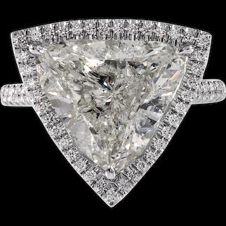 GIA 6.01ct Vintage Trillion Diamond Halo Engagement Weeding Platinum Ring