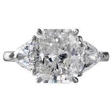 GIA 4.01CT Estate Vintage Radiant Diamond 3 Stone Engagement Wedding Platinum Ring