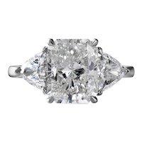 RESERVED…..GIA 4.01CT Estate Vintage Radiant Diamond 3 Stone Engagement Wedding Platinum Ring