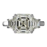 GIA Shy 5 ct Vintage Asscher Diamond 3 Stone Enagagement Wedding Platinum Ring