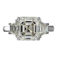 GIA Shy 5 ct Vintage Asscher Diamond 3 Stone Enagagement Wedding Platinum Ring