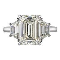 GIA 5.01ct Vintage Emerald cut Diamond 3 Stone Engagement Wedding Platinum Ring