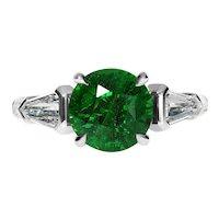 Vintage GIA 4.52ct Green Tsavorite Diamond Three Stone Engagement Wedding Platinum Ring