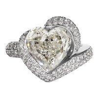 GIA 8.21ct Estate Vintage Heart Diamond 18 White Gold Engagement Anniversary Ring