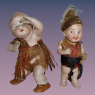 Antique German Two Bisque Dolls as Indians