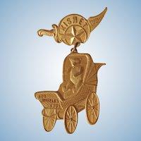 Rare c. 1907 KISMET Pinback Button Teddy Bear in Stroller Pin