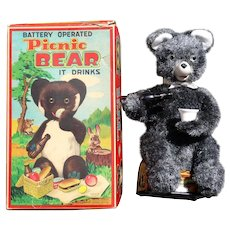 "1950s Battery operated ""Picnic Bear"" in Original Box  Japan"