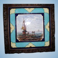 Antique Beautiful French Hand Painted Trivet Tile, Call Bell & Music Box