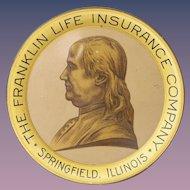 Benjamin Franklin Insurance Co. Tin Litho Tip Tray 1930's