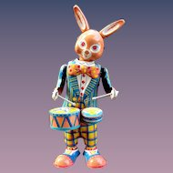 Rabbit 1950's Large Tin Wind up Drummer  Easter Toy Made in Japan