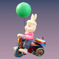 Rabbit 1950's Tin and Celluoid Riding a Tricycle Wind Up Easter Toy Japan