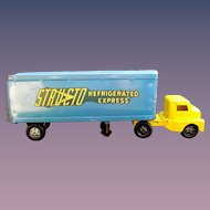"Structo 1950's Large ""Refrigerated Express"" Pressed Steel Cab & Trailer + Original Box"