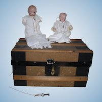 "Antique 1900s TWO Germany 6"" Dolls and an Antique Doll Trunk"