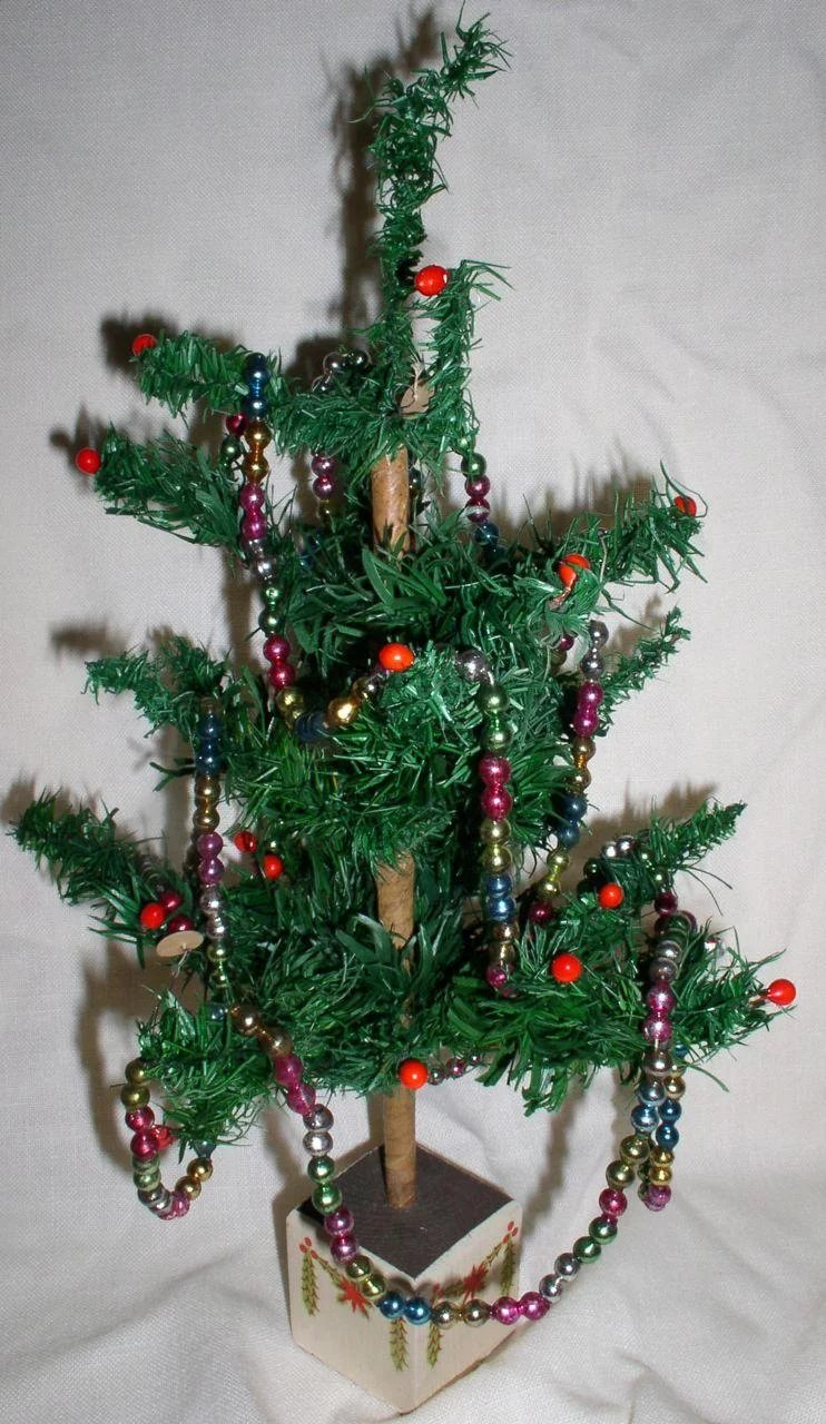 1920s Early German Feather Christmas Tree Made Exclusively