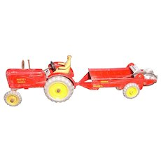 Dinky Massey Harriss Tractor #300 and Manure Spreader #321